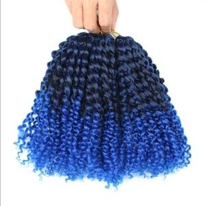 Accessories - Marlybob Hair Blue Afro Kinky Curly Crochet Hair